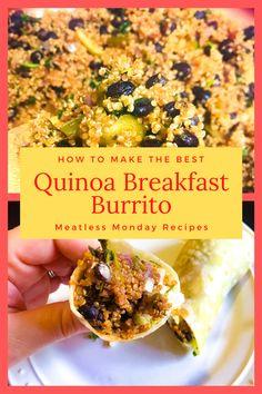 How to make the best quinoa breakfast burrito, vegetarian, vegan, meatless monday, burrito, quinoa, plant based Quinoa Breakfast, Breakfast Burritos, How To Cook Potatoes, Shredded Carrot, How To Cook Quinoa, Meatless Monday, Plant Based, Vegetarian, Nutrition