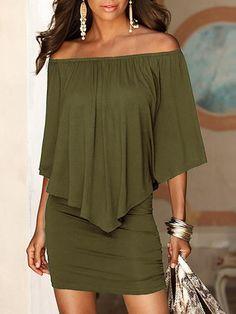 Burgundy Irregular Boat Neck Short Sleeve Off Shoulder Bodycon Fashion Mini Dress