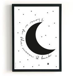 Poster | Love To The Moon #poster #thebirdsandthebees #home #kinderkamer #babykamer