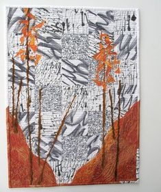 Modern Art Quilt / Fall Art Quilt / Abstract Trees Wall Hanging