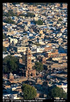 Clock tower and old quarter seen from  Mehrangarh Fort. Jodhpur, Rajasthan, India