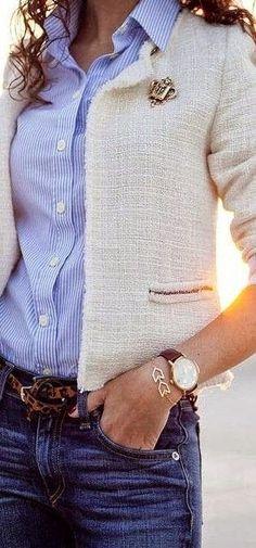 Classic ~ bouclé jacket with pin, pinstripe shirt, jeans, leopard belt, boyfriend watch