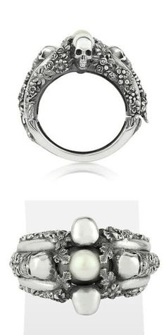 I found 'UGO CACCIATORI - Light Pearl Foliage & Skulls Sterling Silver Bracelet  want/need' on Wish, check it out!