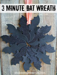 shaken together: {create this} 3 minute Halloween bat wreath