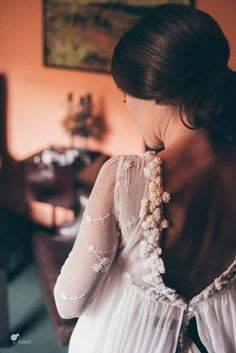 Wedding gown by Isabel Nunez Wedding Dresses With Straps, Wedding Dress Sleeves, Dream Wedding Dresses, Bridal Dresses, Wedding Gowns, Wedding Bride, Flower Girl Dresses, Dresses With Sleeves, Lace Dress