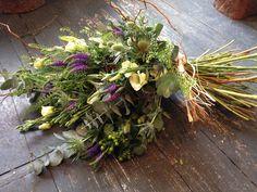 Natural scottish hand tied sheath Wild Flower Arrangements, Funeral Arrangements, Casket Flowers, Funeral Flowers, Scottish Flowers, Casket Sprays, Funeral Tributes, Lavender Wreath, Memorial Flowers