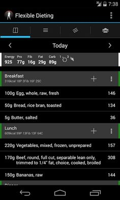 Flexible Dieting the fast and savvy diet tracking app.<br><p>  Light and Fast Calorie and Macro tracking app.<br>  Go beyond IIFYM (If It Fits Your Macros) to Flexible Dieting.<br>  Brings all the components of a successful diet together.<br>  Fast local database.<br>  Fast logging.<br>  Based on accurate USDA data.<br>  Diet Strategy - switch phases automatically.<br>  Diet Phases:<br>--- Recomposition<br>--- Maintenance<br>--- Fat Loss<br>--- Gaining<br>--- Manual mode!<br>  Graph…