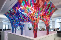 SOFTlab's translucent installation bathes Bēhance's New York office with tinted light - News - Frameweb
