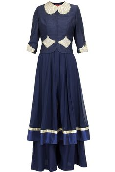 Navy blue anarkali with palazzo and jacket available only at Pernia's Pop-Up Shop.