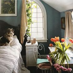 In the bedroom of Helena Christensen's Catskills home Copenhagen Apartment, Pretty Bedroom, Helena Christensen, My Room, Fur Babies, Beautiful Homes, Interior Decorating, Countryside, Bedroom Ideas