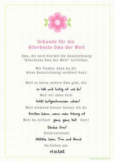 """Die Persönliche Note: Oma-Tag am 14. Oktober? - """"Für die beste Oma der Welt"""" - Kostenlose Geschenkurkunde zum Ausdrucken"""