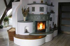 pechka-v-dome27 Rocket Mass Heater, Recycled House, Interior And Exterior, Interior Design, Rocket Stoves, Earth Homes, Herd, Rustic Kitchen, Building A House