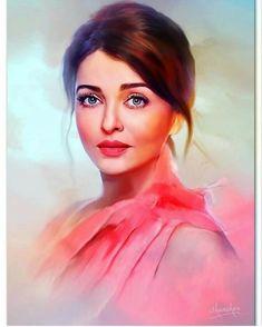 Aishwarya Rai Bachchan Painting Fan Art of the Famous Golden Girl of Bollywood Cinema Watercolor Portraits, Watercolor Art, Watercolor Pencils, Indian Art Paintings, Indian Women Painting, Digital Paintings, Digital Portrait Painting, Potrait Painting, Painting Portraits