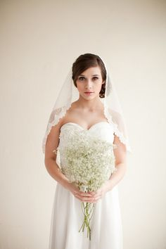 Dotted Lace Veil Mantilla Veil Elbow Length by MelindaRoseDesign