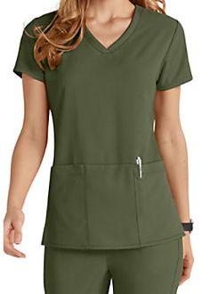 Grey's Anatomy Signature 3 Pocket Criss Cross V-neck Scrub Tops