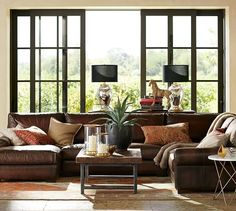 Turner Roll Arm Leather 4 Piece Chaise Sectional | Pottery Barn