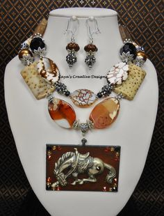 Western Cowgirl Horse Pendant Necklace Set / Horse Jewelry / Chunky Statement Necklace / Southwest Necklace Set - BROWN RODEO MADNESS by CayasCreativeDesigns on Etsy