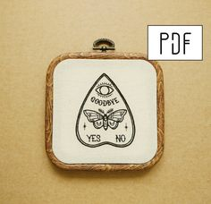 PDF pattern Ouija Planchette with Moth Butterfly detail
