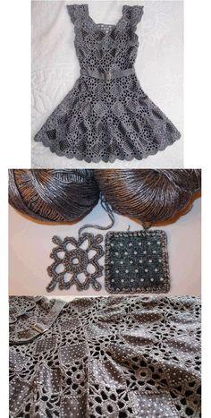 Bello vestido con tela y crochet