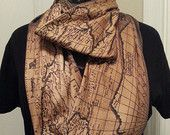 Antique Map Infinity KNIT scarf -  made to order