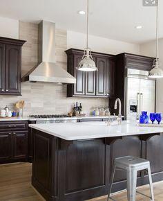 Espresso Cabinet Kitchen Dark Brown Cabinets Island Cabinetry