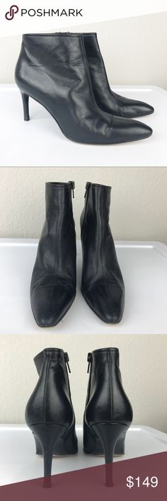 Yves Saint Laurent Black Leather Ankle Boot Italy Yves Saint Laurent 100% Italian Leather Soft Black High Heeled ultra pointed toe ankle boot with side zips. Good used condition, one heel has a little damage as shown in pics but otherwise they look great. Size 8 N is a perfect fit for the thinner narrow foot, and the soft leather stretches and forms to your foot like a glove. Made in Italy. Yves Saint Laurent Shoes Ankle Boots & Booties