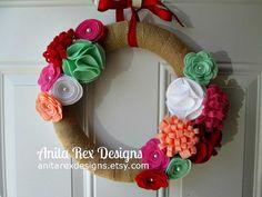 Summer Wreath, Burlap Wreath, Red, Mint, Coral Pink Felt Flower Wreath, Red Door, Handmade Wreath, Red Door Wreath on Etsy, $38.00