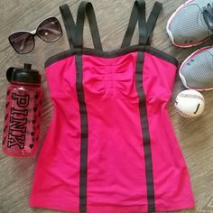 Lululemon | Pink Workout Tank Flawless condition Lululemon workout tank with shelf bra inside. Very flattering shape with Grey ribbon accents down the front and back. Split strap V back! Adorable for summer! Size 8 medium lululemon athletica Tops