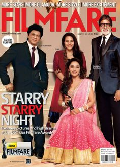 SRK, Amitabh Bachchan, Kajol and Madhuri Dixit-Nene - Filmfare magazine cover March 16, 2011