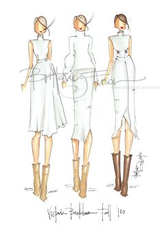 We're in the midst of Fashion Week (and a snow storm), so I naturally gravitated to the winter whites shown by Victoria Beckham . Paper Fashion, Fashion Art, Fashion Show, Girl Fashion, Fashion Design, Ballet Fashion, Victoria Beckham, Social Media Art, Fashion Sketches