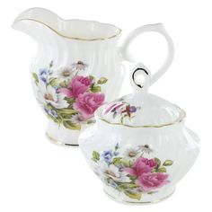 Grace's Rose Bone China - Sugar and Creamer Set