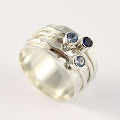 3 Gemstone Spinner Ring Birthstone Spinner by tinydaisiesdesigns