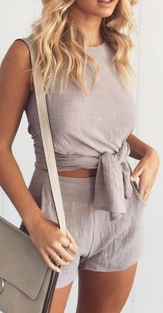#summer #muraboutique #outfitideas |  Grey Linen Two Piece Set