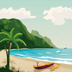 Hawaii Polynesia Island USA Travel Poster Illustration on Behance Art And Illustration, Mountain Illustration, Graphic Design Illustration, Beach Landscape, Landscape Art, Voyage Hawaii, California Map, Environment Concept Art, Vintage Stil