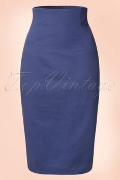 Collectif Clothing Fiona Pencil Skirt Plain Navy Blue 14795 20141214 0004W