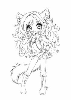 this is commissioned to me by it's her OC named zaerya. the trick when adding features for a chibi is to totally exaggerate it. the eyes & hair & ears & tail. i had some people co. Chibi Coloring Pages, Adult Coloring Book Pages, Cute Coloring Pages, Coloring Pages To Print, Printable Coloring Pages, Coloring Books, Free Adult Coloring, Digi Stamps, Copics
