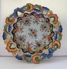Antique French Faience Desvres Rouen Plate by Emile Fourmaintraux ca.1875