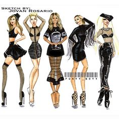 "My fashion sketch called The Coven: ""Part ll"" (left to right) ArianaGrande, Miley Cyrus, Ciara , KimKardashian & Lady Gaga"