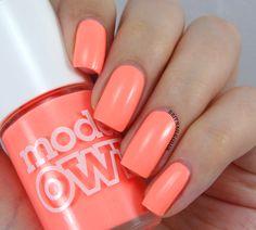 MODELS OWN - Beach Bag is a bright peachy orange. 3 coats #nail #nails #nailpolish