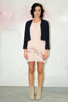 Love Hotel. A/W 2013. The Glass House Dress in Blush with Cropped Jacket.