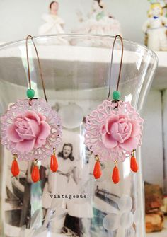 bloomsaltered upcycled OOAK dangle earrings pink rose by Arey, $14.00