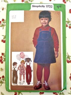 Simplicity 9722 - Vintage 1980s Childs Overalls and Jumper Pattern by Fragolina on Etsy