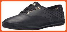 Keds Women's Champion Embossed Leather Fashion Sneaker, Black/Black, 9 M US - Sneakers for women (*Amazon Partner-Link)
