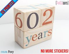 LIMITED STOCK Wooden Baby Age Blocks  No by PrettyInPolkaDotsky