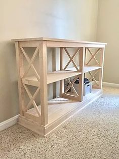 DIY kids toy storage organization idea for living room, bedroom, basement, or playroom using a console table and storage baskets. Great for small spaces! Farmhouse Toys, Farmhouse Furniture, Farmhouse Design, Coastal Farmhouse, Diy Furniture Projects, Furniture Plans, Home Projects, Diy Kids Bedroom Furniture, Diy Toy Storage