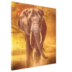 """African Elephant Charging """"NOBILITY"""" Canvas Print"""