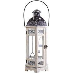 White Wooden Hanging Tealight Lantern