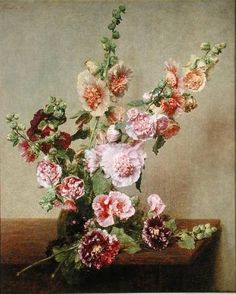 ❀ Blooming Brushwork ❀ garden and still life flower paintings - hollyhock bouquet, unknown artist