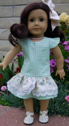 Ruthie is all sugar as she models her new spring dress from Jelly Bean Soup find the pattern at Pixie Faire http://www.pixiefaire.com/collections/18-inch-doll-dress-patterns/products/jennifer-and-kate-18-doll-clothes