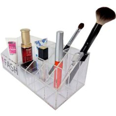 "Acrylic Cosmetic Organizer by FASH Limited. $17.49. 5 Blocks For Cosmetics Products. High-quality acrylic. Note: Only the organizer is for sale, not the products inside!. Size(inch):8.86""W X 4.13""L X 3.34""H. Clear Color. High-quality acrylic plastic looks good anywhere! This lucite cosmetic organizer has 5 compartments.Organize your bathroom counters instantly with this handy makeup caddy.. Save 30% Off!"